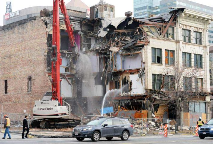 demolition of different types of buildings.demolition of different types of buildings